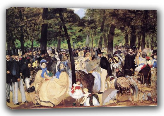 Manet, Edouard: Music in the Tuileries Gardens, 1862. Fine Art Canvas. Sizes: A3/A2/A1 (00680)
